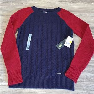 🆕 NWT Polo Navy and Dark Red Sweater Size Small